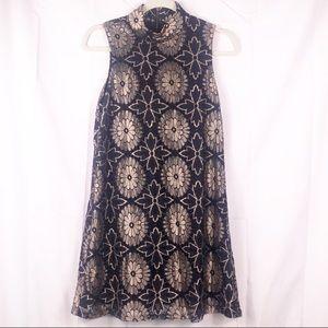 Black MOD style dress, gold, black, flower, lace